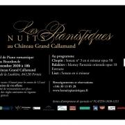 Samedi 26 septembre 2020 : Concert à 18 h au Château Grand Callamand